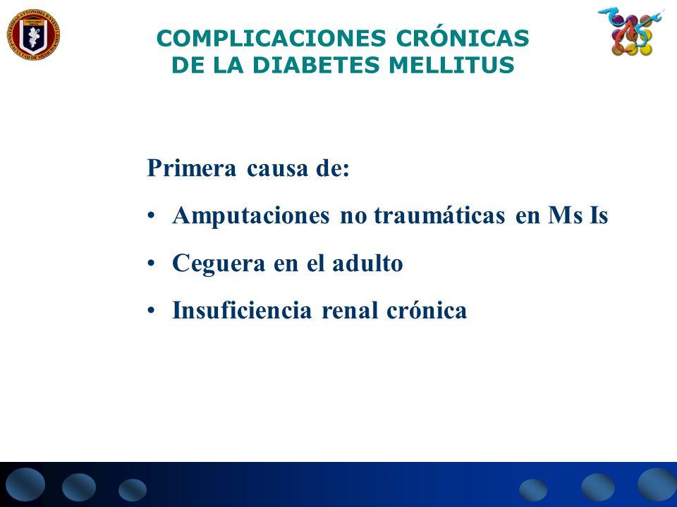 COMPLICACIONES CRÓNICAS DE LA DIABETES MELLITUS Primera causa de: Amputaciones no traumáticas en Ms Is Ceguera en el adulto Insuficiencia renal crónic
