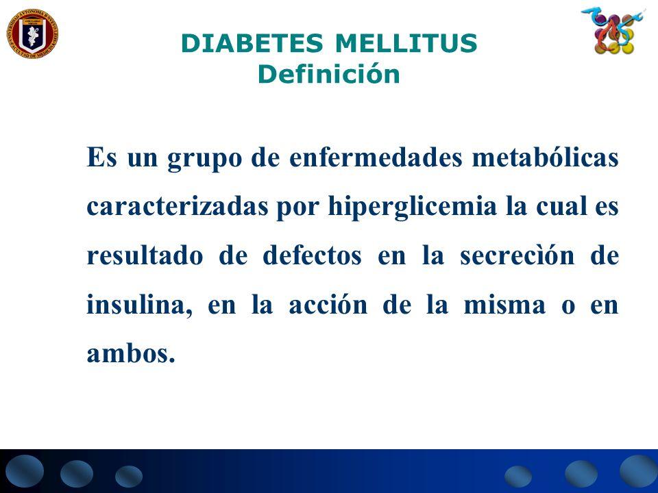 DIABETES MELLITUS Definición La Hiperglicemia crónica de la Diabetes Mellitus se asocia a largo plazo con daño, disfunción e insuficiencia de varios órganos, especialmente los ojos, riñones, nervios, corazón y vasos sanguíneos.