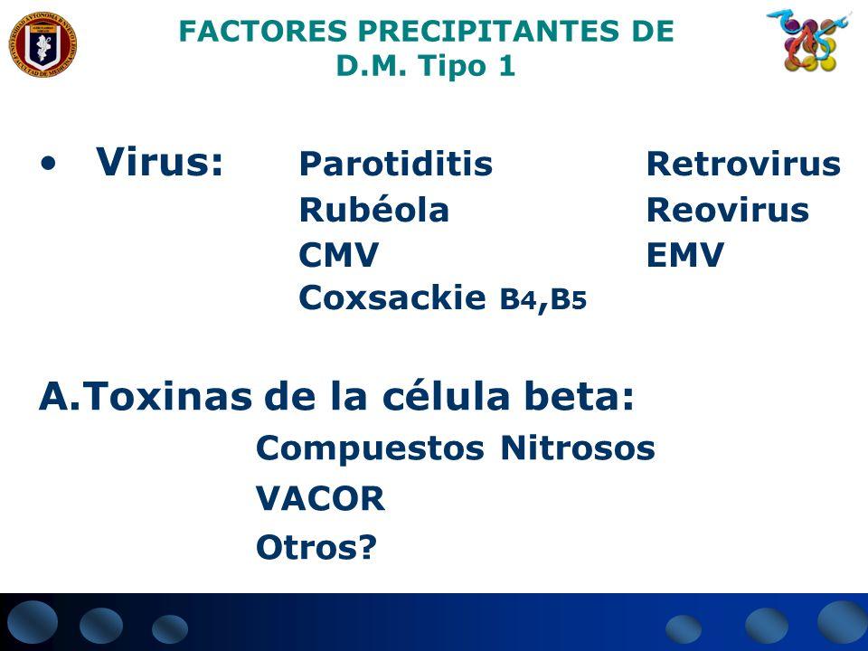 FACTORES PRECIPITANTES DE D.M. Tipo 1 Virus: Parotiditis Retrovirus Rubéola Reovirus CMV EMV Coxsackie B 4, B 5 A.Toxinas de la célula beta: Compuesto