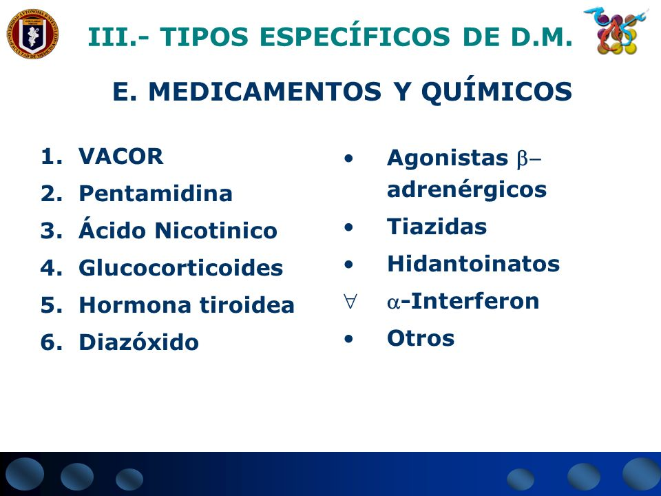 1.VACOR 2.Pentamidina 3.Ácido Nicotinico 4.Glucocorticoides 5.Hormona tiroidea 6.Diazóxido III.- TIPOS ESPECÍFICOS DE D.M. E. MEDICAMENTOS Y QUÍMICOS