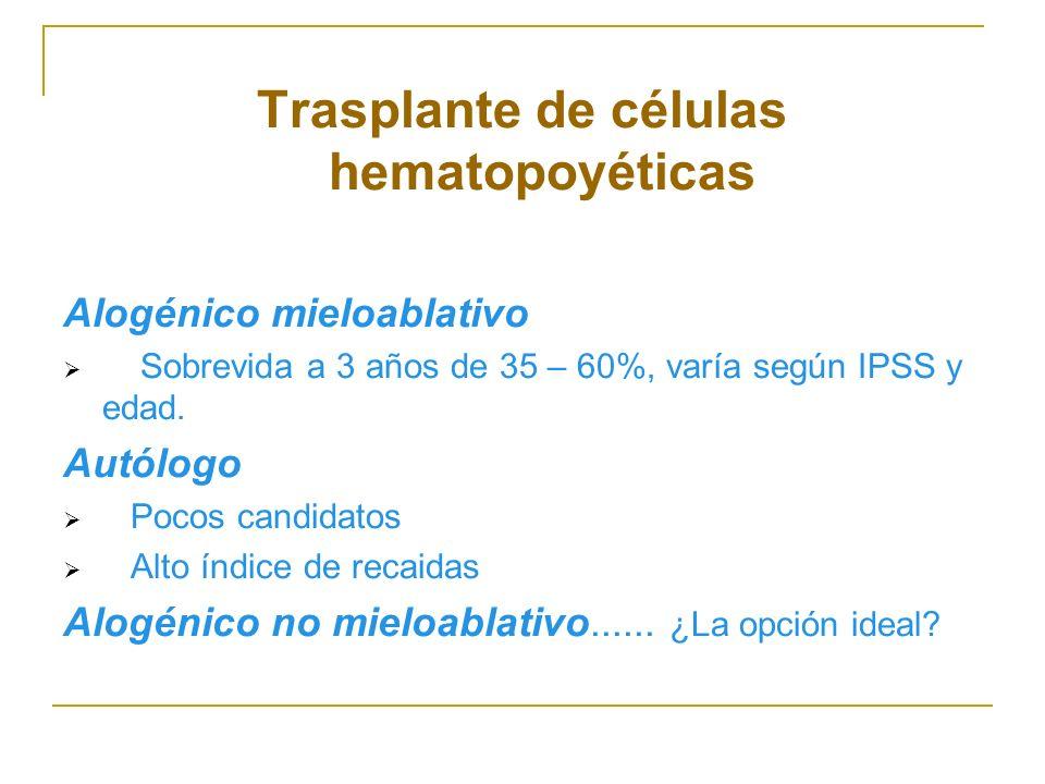 Trasplante de células hematopoyéticas Alogénico mieloablativo Sobrevida a 3 años de 35 – 60%, varía según IPSS y edad. Autólogo Pocos candidatos Alto