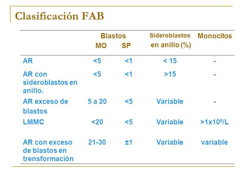 Clasificación FAB Blastos MO SP Sideroblastos en anillo (%) Monocitos AR<5<1< 15- AR con sideroblastos en anillo. <5<1>15- AR exceso de blastos 5 a 20