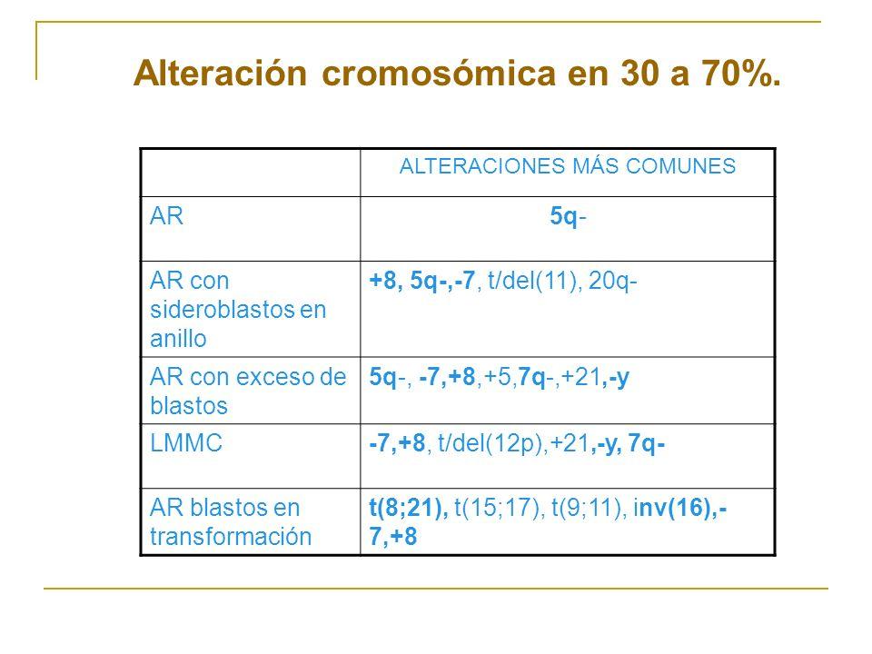 Alteración cromosómica en 30 a 70%. ALTERACIONES MÁS COMUNES AR5q- AR con sideroblastos en anillo +8, 5q-,-7, t/del(11), 20q- AR con exceso de blastos