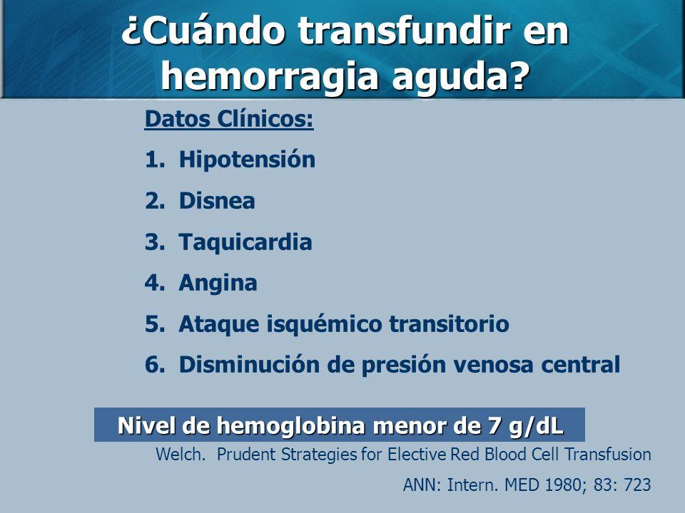¿Cuándo transfundir en hemorragia aguda? Datos Clínicos: 1.Hipotensión 2.Disnea 3.Taquicardia 4.Angina 5.Ataque isquémico transitorio 6.Disminución de