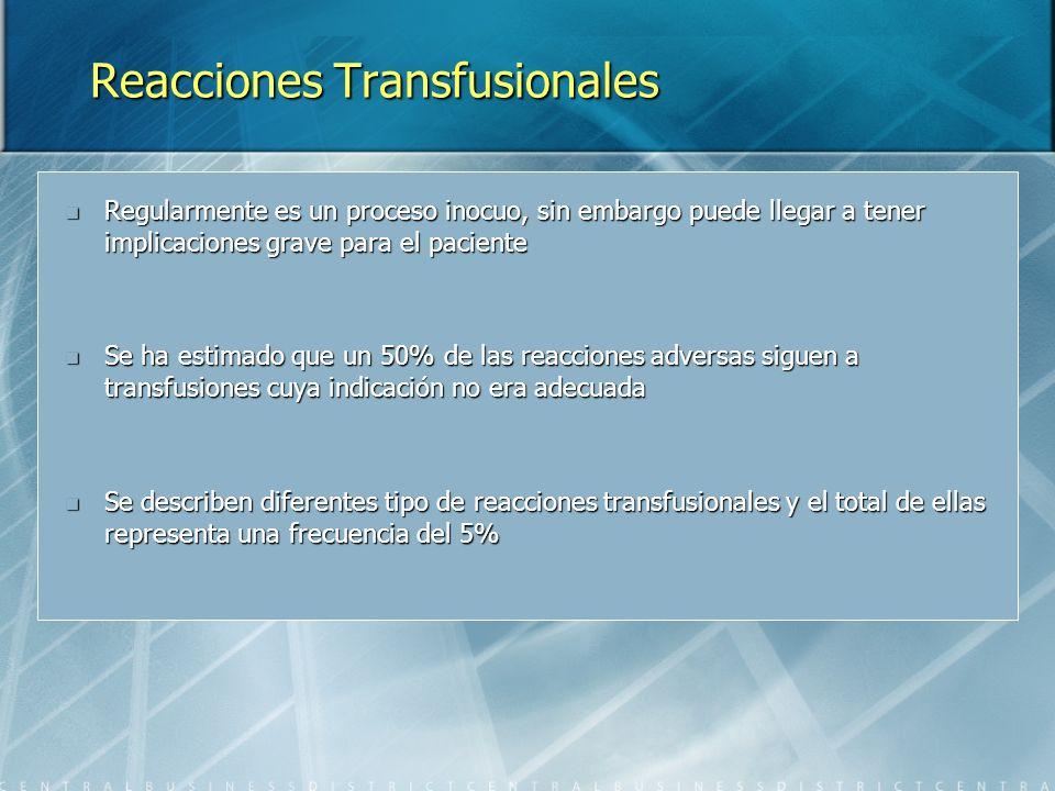 Reacciones Transfusionales Regularmente es un proceso inocuo, sin embargo puede llegar a tener implicaciones grave para el paciente Regularmente es un