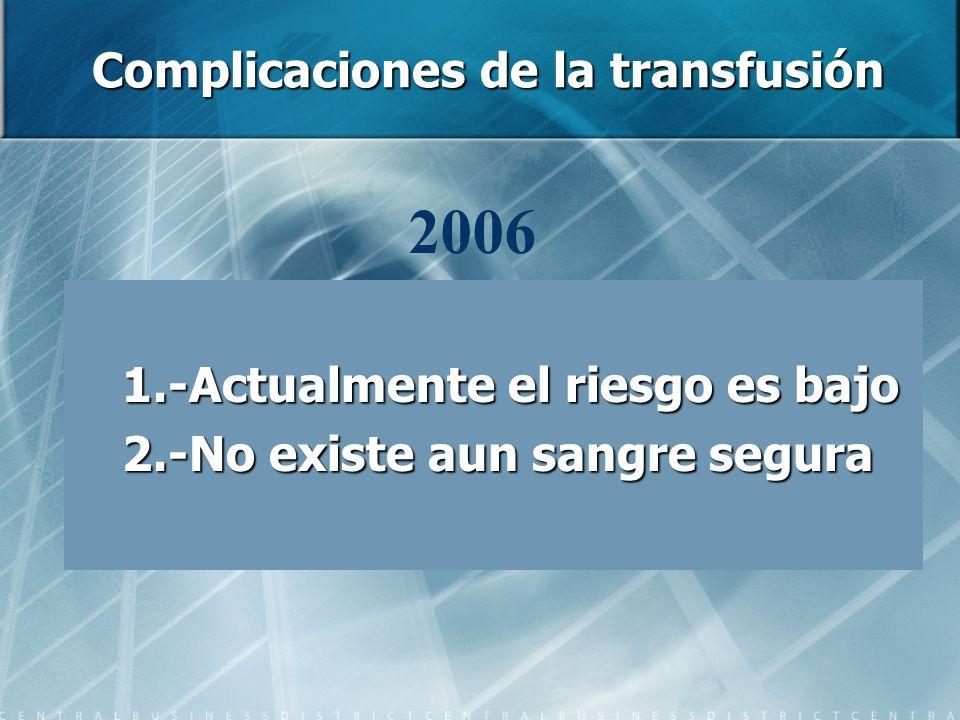 Complicaciones de la transfusión 1.-Actualmente el riesgo es bajo 2.-No existe aun sangre segura 2006