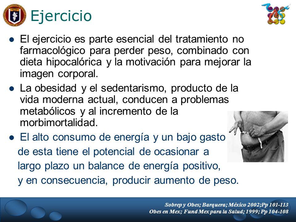 El ejercicio es parte esencial del tratamiento no farmacológico para perder peso, combinado con dieta hipocalórica y la motivación para mejorar la ima