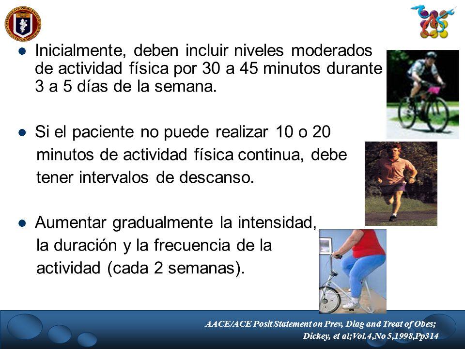 Inicialmente, deben incluir niveles moderados de actividad física por 30 a 45 minutos durante 3 a 5 días de la semana. Si el paciente no puede realiza