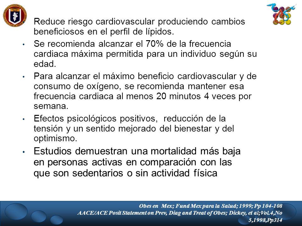 Reduce riesgo cardiovascular produciendo cambios beneficiosos en el perfil de lípidos. Se recomienda alcanzar el 70% de la frecuencia cardiaca máxima