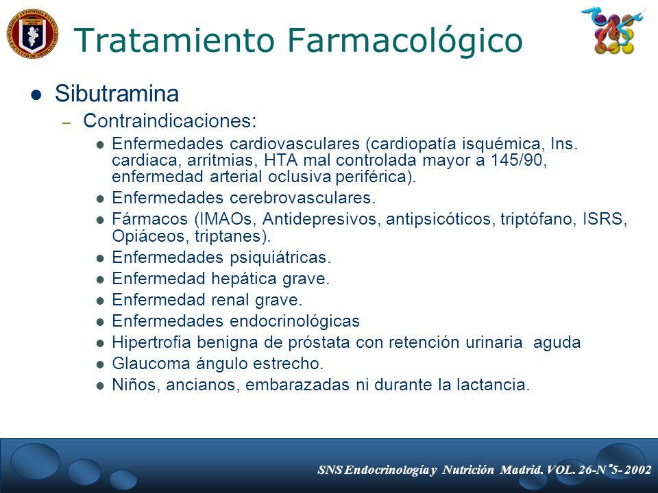 Sibutramina – Contraindicaciones: Enfermedades cardiovasculares (cardiopatía isquémica, Ins. cardiaca, arritmias, HTA mal controlada mayor a 145/90, e