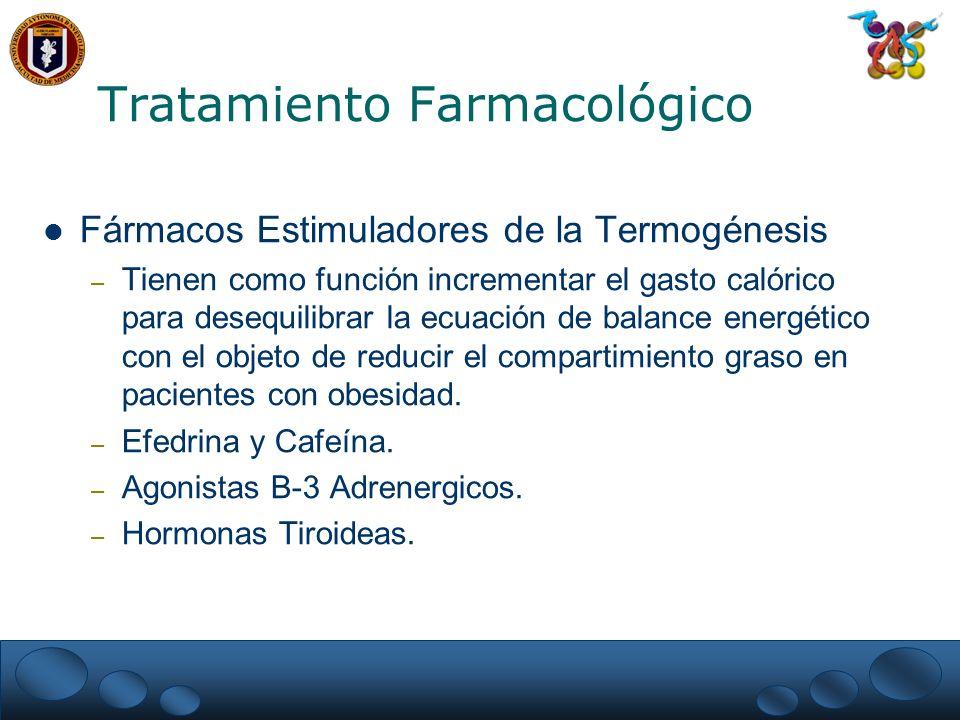 Fármacos Estimuladores de la Termogénesis – Tienen como función incrementar el gasto calórico para desequilibrar la ecuación de balance energético con