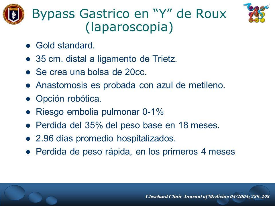 Bypass Gastrico en Y de Roux (laparoscopia) Gold standard. 35 cm. distal a ligamento de Trietz. Se crea una bolsa de 20cc. Anastomosis es probada con