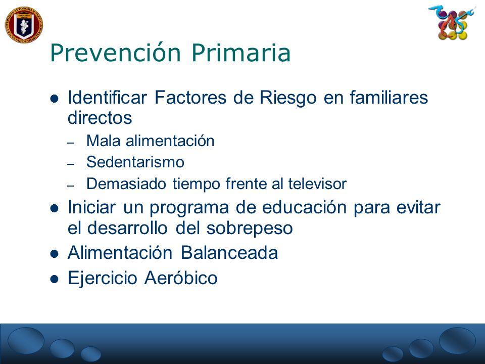 Identificar Factores de Riesgo en familiares directos – Mala alimentación – Sedentarismo – Demasiado tiempo frente al televisor Iniciar un programa de