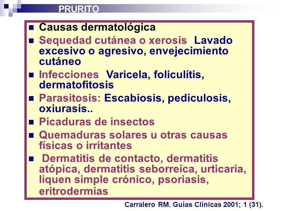 Causas dermatológica Sequedad cutánea o xerosis: Lavado excesivo o agresivo, envejecimiento cutáneo Infecciones: Varicela, foliculítis, dermatofitosis