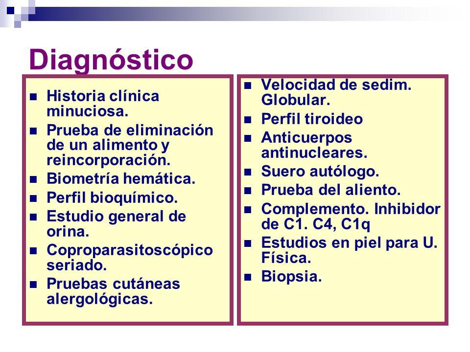 Diagnóstico Historia clínica minuciosa. Prueba de eliminación de un alimento y reincorporación. Biometría hemática. Perfil bioquímico. Estudio general