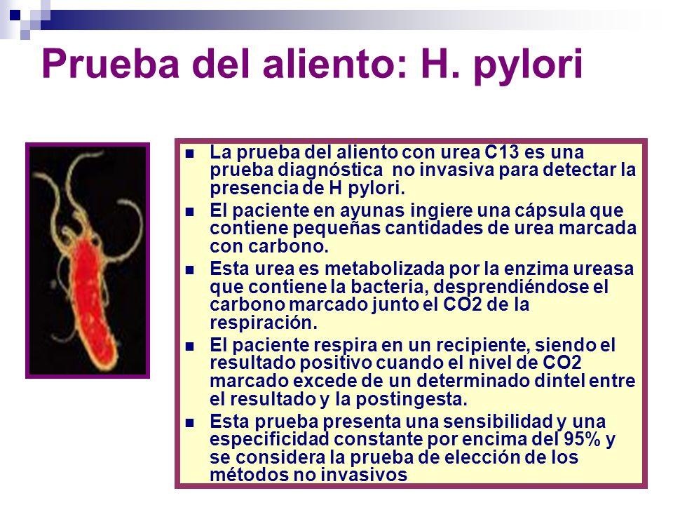 Prueba del aliento: H. pylori La prueba del aliento con urea C13 es una prueba diagnóstica no invasiva para detectar la presencia de H pylori. El paci