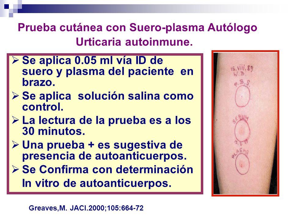 Se aplica 0.05 ml vía ID de suero y plasma del paciente en brazo. Se aplica solución salina como control. La lectura de la prueba es a los 30 minutos.