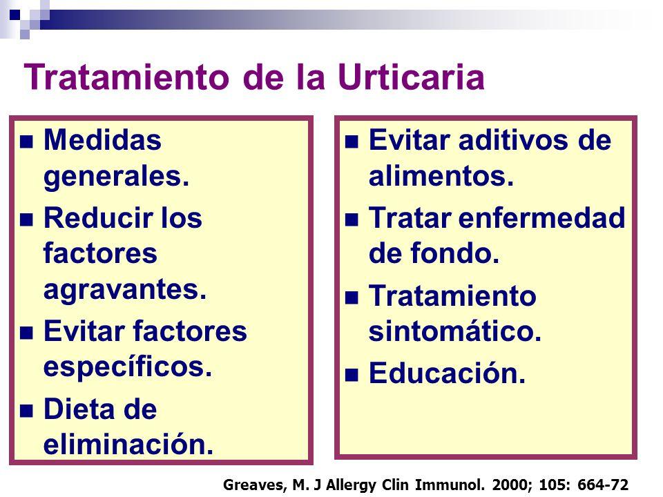 Tratamiento de la Urticaria Medidas generales. Reducir los factores agravantes. Evitar factores específicos. Dieta de eliminación. Evitar aditivos de