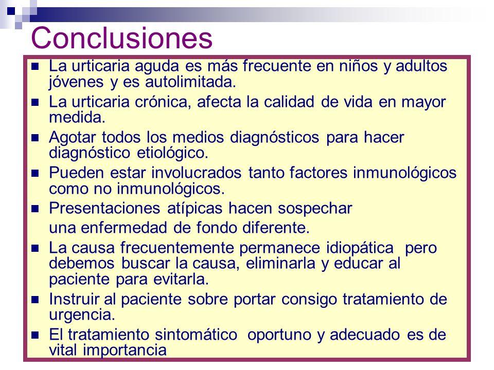 Conclusiones La urticaria aguda es más frecuente en niños y adultos jóvenes y es autolimitada. La urticaria crónica, afecta la calidad de vida en mayo