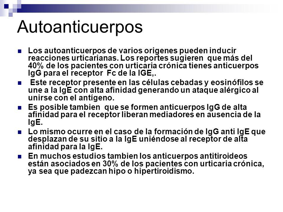 Autoanticuerpos Los autoanticuerpos de varios origenes pueden inducir reacciones urticarianas. Los reportes sugieren que más del 40% de los pacientes