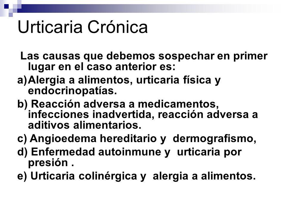 Urticaria Crónica Las causas que debemos sospechar en primer lugar en el caso anterior es: a)Alergia a alimentos, urticaria física y endocrinopatías.
