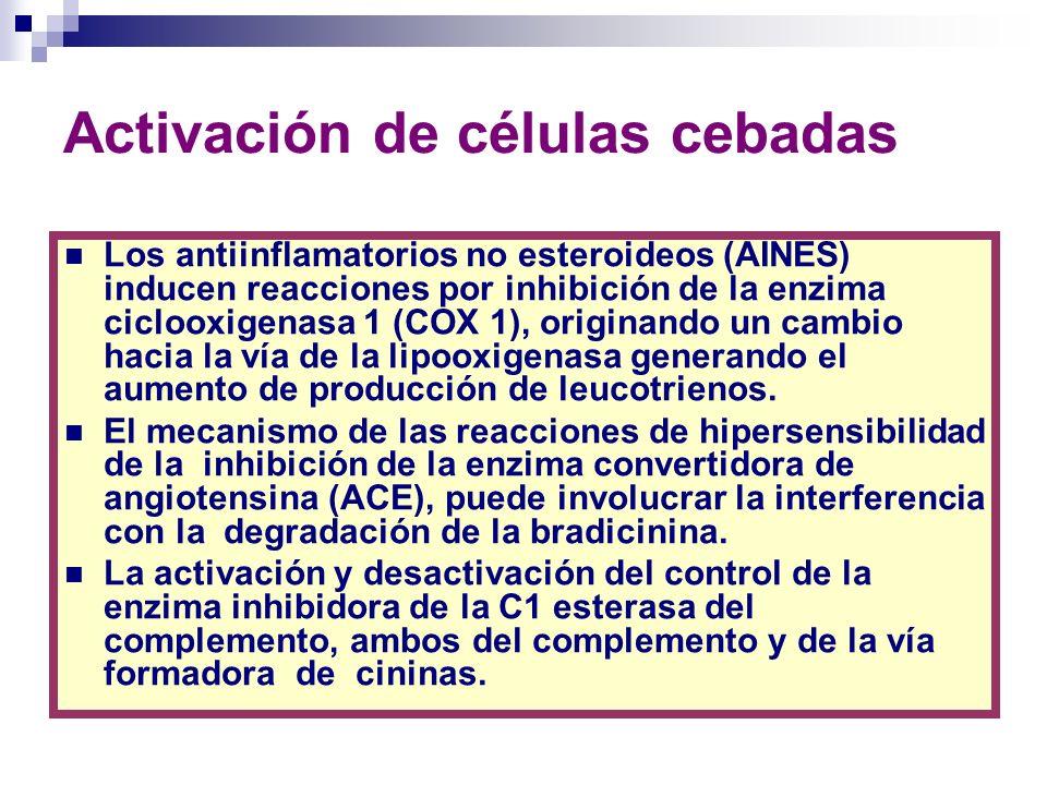 Activación de células cebadas Los antiinflamatorios no esteroideos (AINES) inducen reacciones por inhibición de la enzima ciclooxigenasa 1 (COX 1), or