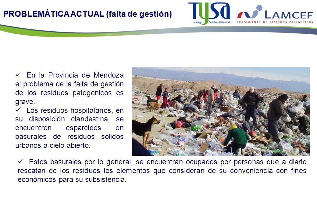 PROBLEMÁTICA ACTUAL (falta de gestión) En la Provincia de Mendoza el problema de la falta de gestión de los residuos patogénicos es grave. Los residuo