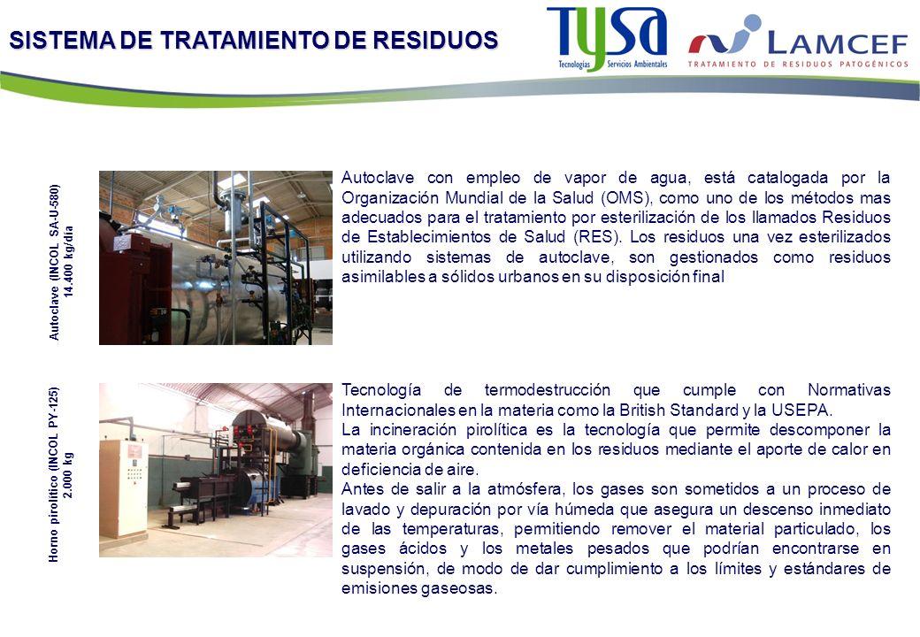 SISTEMA DE TRATAMIENTO DE RESIDUOS Autoclave con empleo de vapor de agua, está catalogada por la Organización Mundial de la Salud (OMS), como uno de l