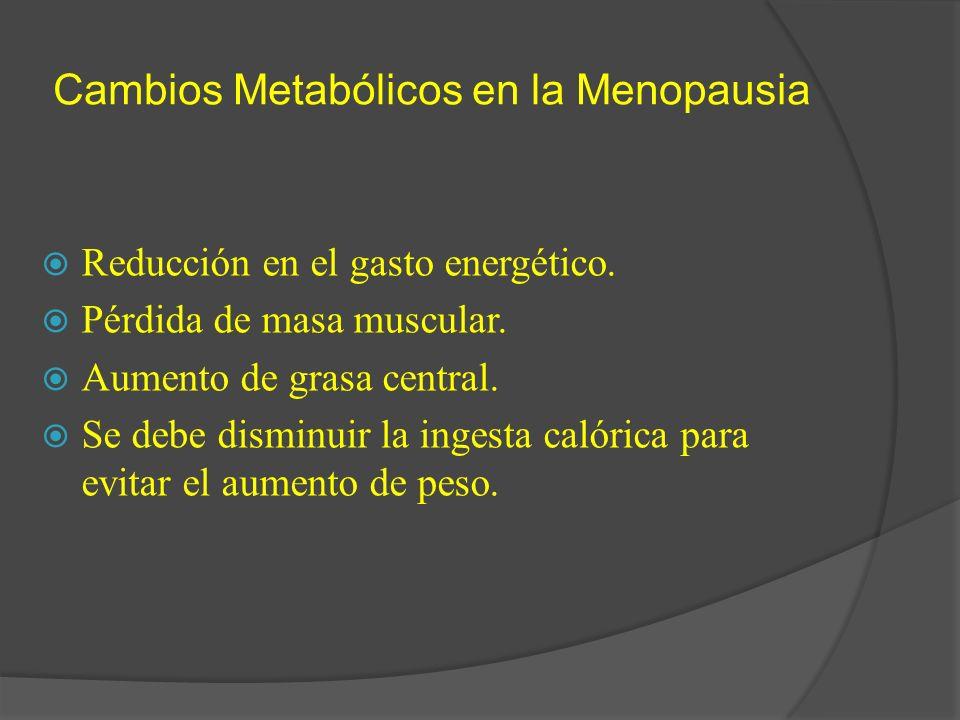 Cambios Metabólicos en la Menopausia Reducción en el gasto energético. Pérdida de masa muscular. Aumento de grasa central. Se debe disminuir la ingest