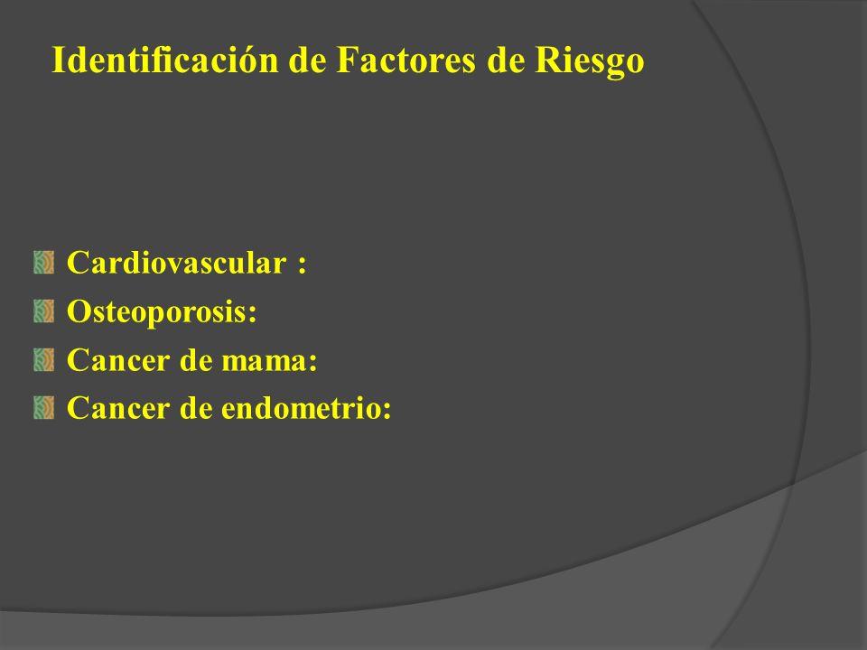 Cardiovascular : Osteoporosis: Cancer de mama: Cancer de endometrio: Identificación de Factores de Riesgo