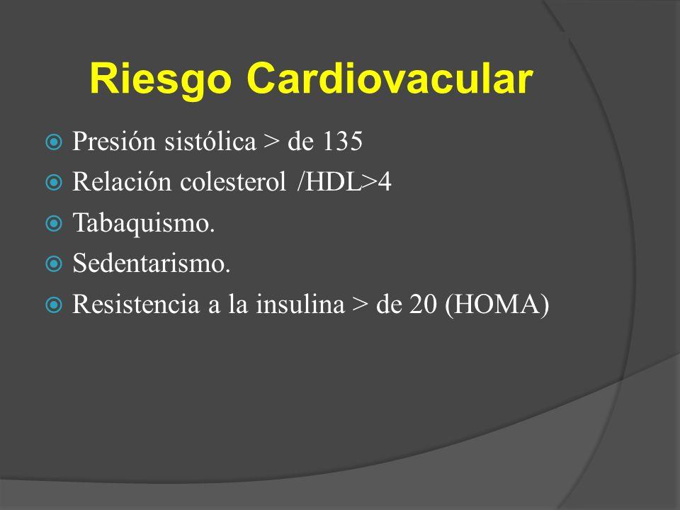 Riesgo Cardiovacular Presión sistólica > de 135 Relación colesterol /HDL>4 Tabaquismo. Sedentarismo. Resistencia a la insulina > de 20 (HOMA)