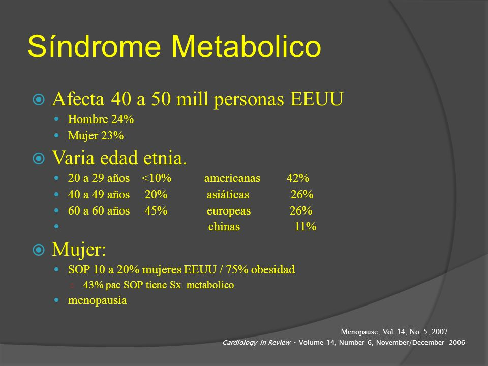 Síndrome Metabolico Afecta 40 a 50 mill personas EEUU Hombre 24% Mujer 23% Varia edad etnia. 20 a 29 años <10% americanas 42% 40 a 49 años 20% asiátic