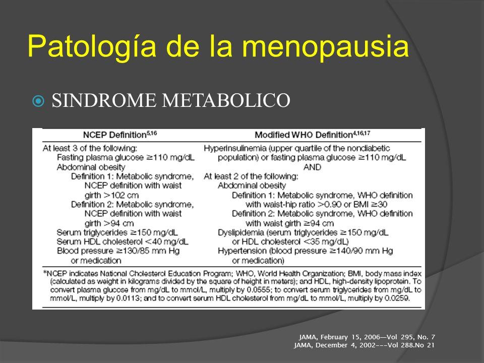 Patología de la menopausia SINDROME METABOLICO JAMA, February 15, 2006Vol 295, No. 7 JAMA, December 4, 2002---Vol 288.No 21