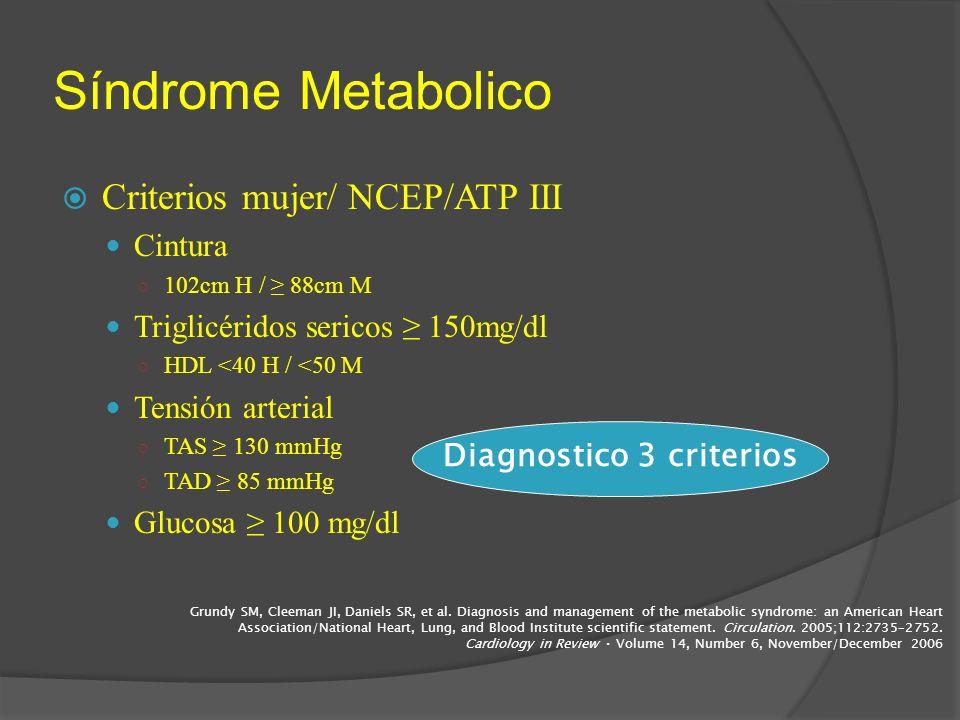 Síndrome Metabolico Criterios mujer/ NCEP/ATP III Cintura 102cm H / 88cm M Triglicéridos sericos 150mg/dl HDL <40 H / <50 M Tensión arterial TAS 130 m