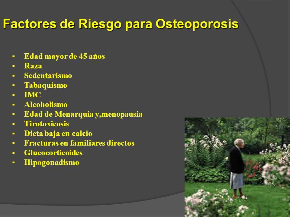 Factores de Riesgo para Osteoporosis Edad mayor de 45 años Raza Sedentarismo Tabaquismo IMC Alcoholismo Edad de Menarquia y,menopausia Tirotoxicosis D