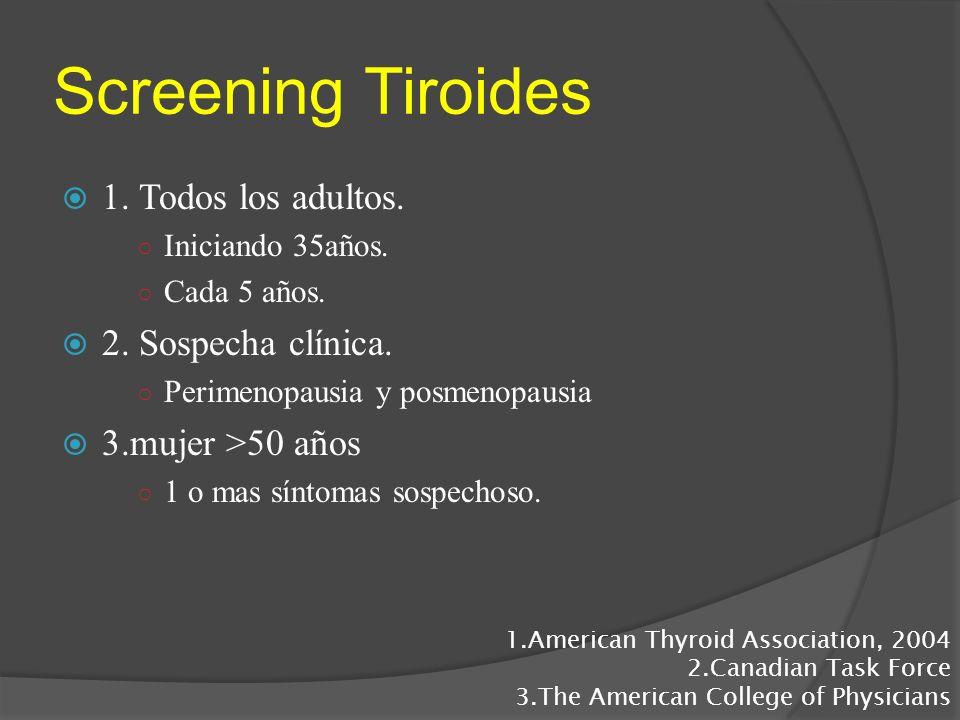 Screening Tiroides 1. Todos los adultos. Iniciando 35años. Cada 5 años. 2. Sospecha clínica. Perimenopausia y posmenopausia 3.mujer >50 años 1 o mas s