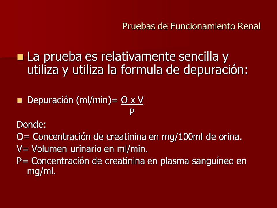 Pruebas de Funcionamiento Renal La prueba es relativamente sencilla y utiliza y utiliza la formula de depuración: La prueba es relativamente sencilla