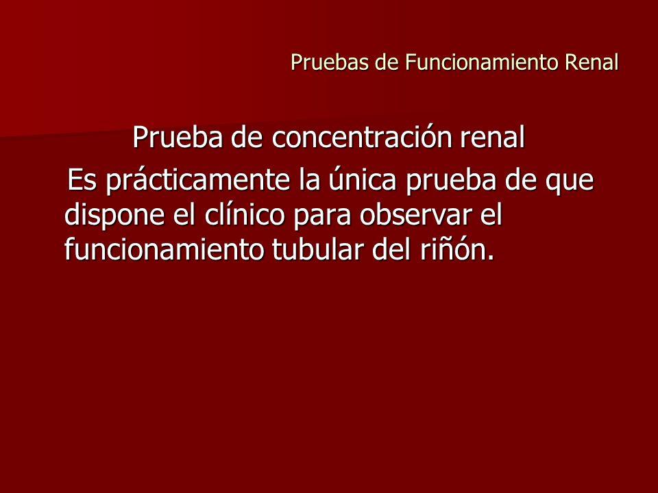 Pruebas de Funcionamiento Renal Prueba de concentración renal Es prácticamente la única prueba de que dispone el clínico para observar el funcionamien