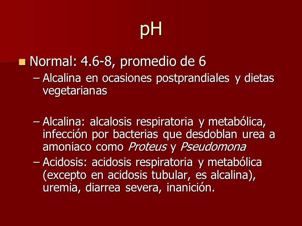 pH Normal: 4.6-8, promedio de 6 Normal: 4.6-8, promedio de 6 –Alcalina en ocasiones postprandiales y dietas vegetarianas –Alcalina: alcalosis respirat