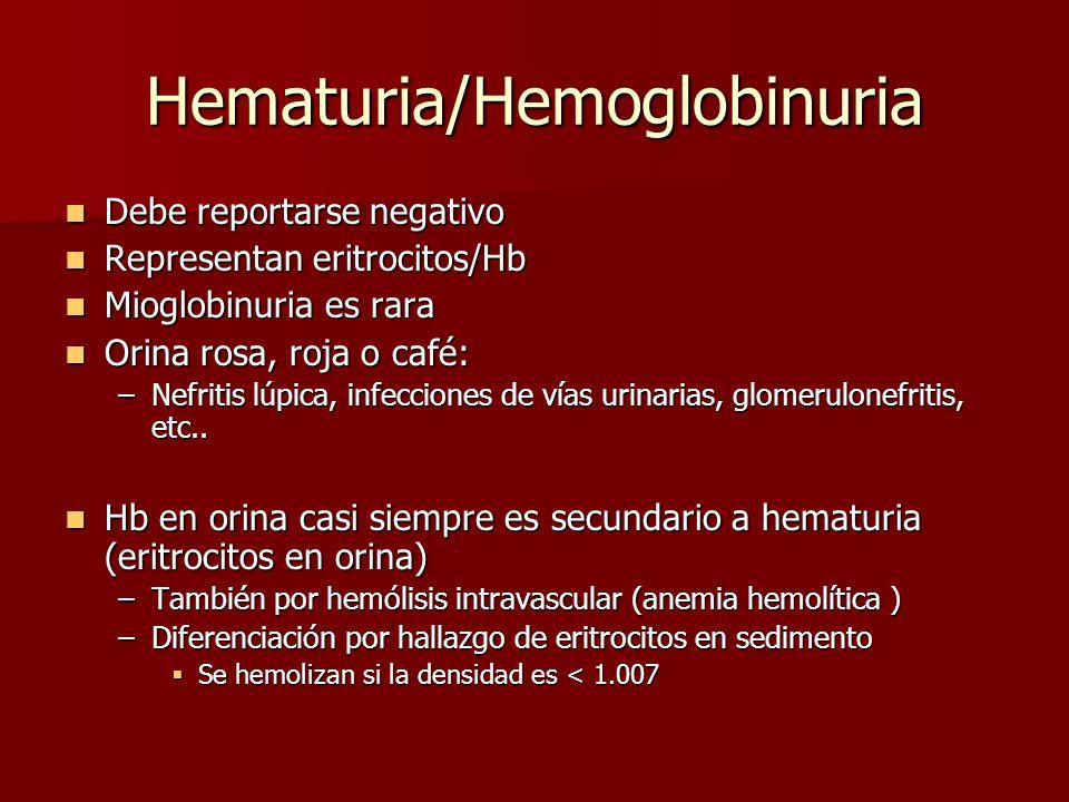 Hematuria/Hemoglobinuria Debe reportarse negativo Debe reportarse negativo Representan eritrocitos/Hb Representan eritrocitos/Hb Mioglobinuria es rara