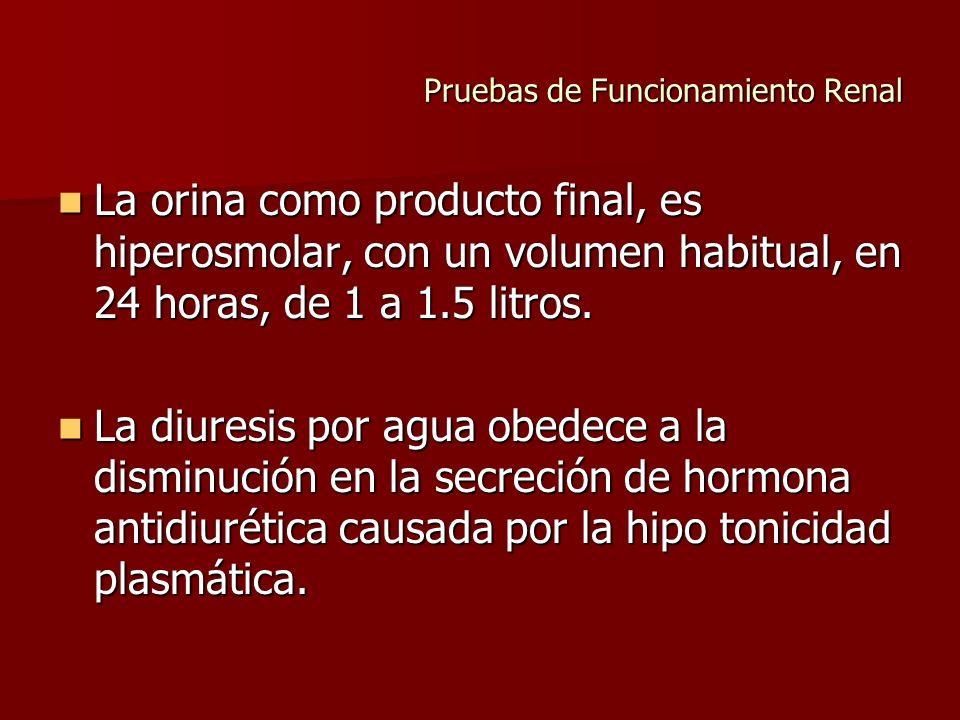 Pruebas de Funcionamiento Renal La orina como producto final, es hiperosmolar, con un volumen habitual, en 24 horas, de 1 a 1.5 litros. La orina como