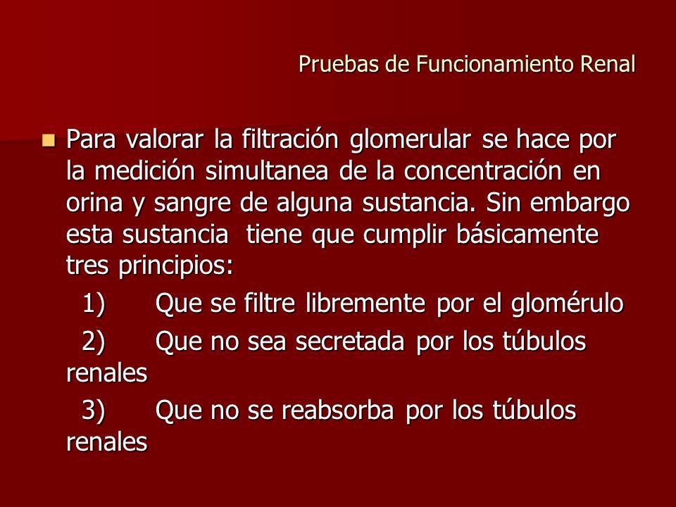 Pruebas de Funcionamiento Renal La inulina es un polisacárido inerte que tiene las cualidades señaladas.