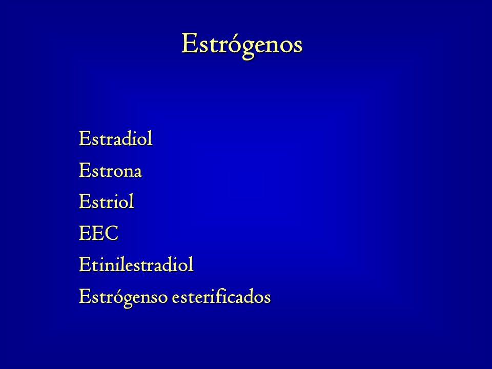 EstradiolEstronaEstriolEECEtinilestradiol Estrógenso esterificados Estrógenos