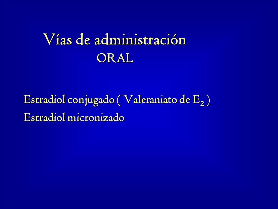 Estradiol conjugado ( Valeraniato de E 2 ) Estradiol micronizado Vías de administración ORAL