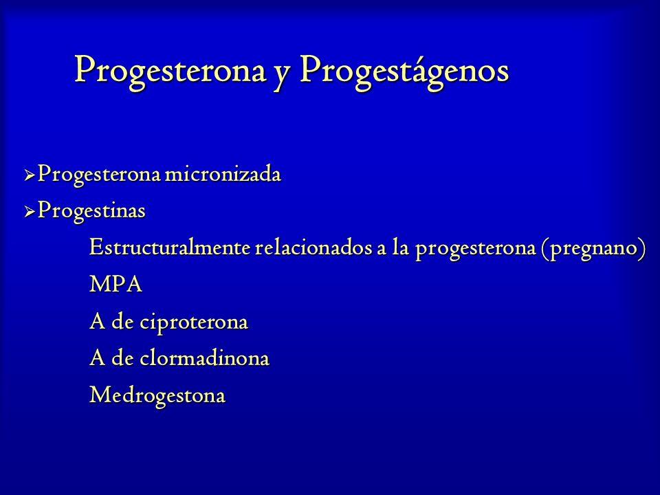 Progesterona y Progestágenos Progesterona micronizada Progesterona micronizada Progestinas Progestinas Estructuralmente relacionados a la progesterona