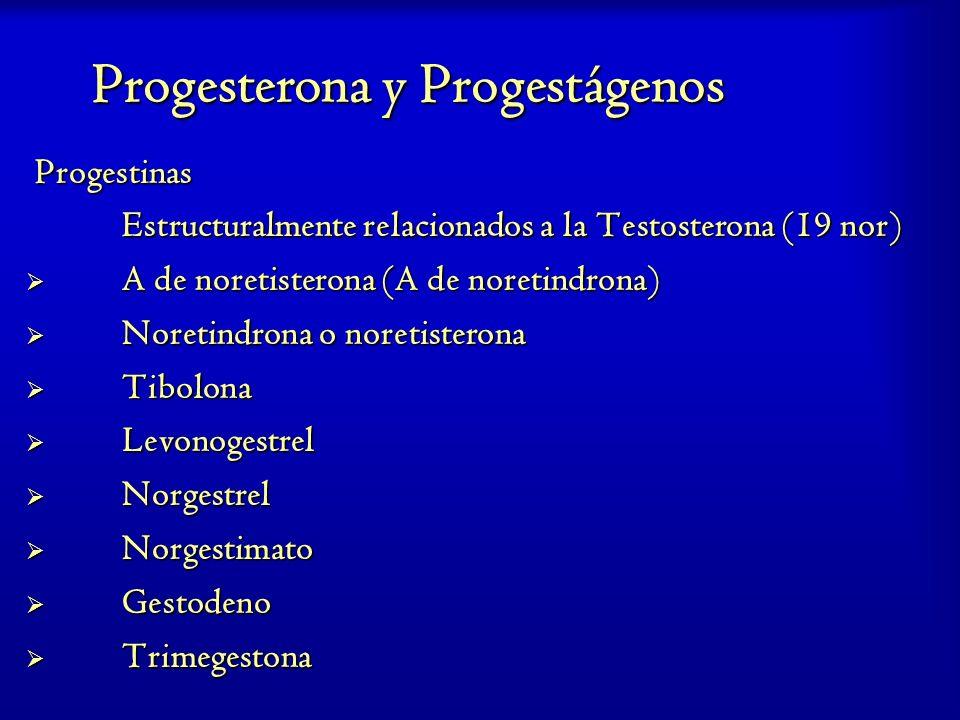 Progesterona y Progestágenos Progestinas Progestinas Estructuralmente relacionados a la Testosterona (19 nor) A de noretisterona (A de noretindrona) A