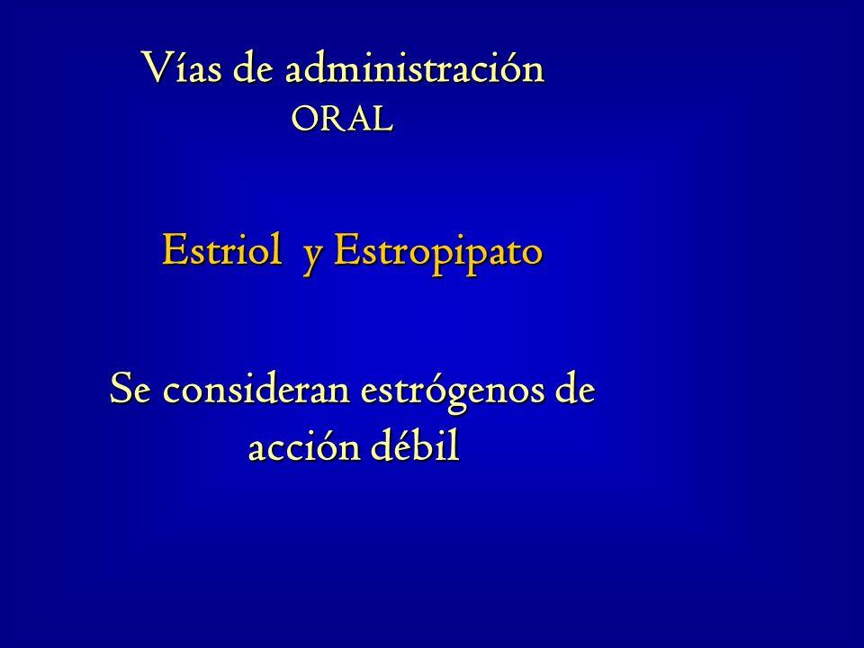 Estriol y Estropipato Se consideran estrógenos de acción débil Vías de administración ORAL