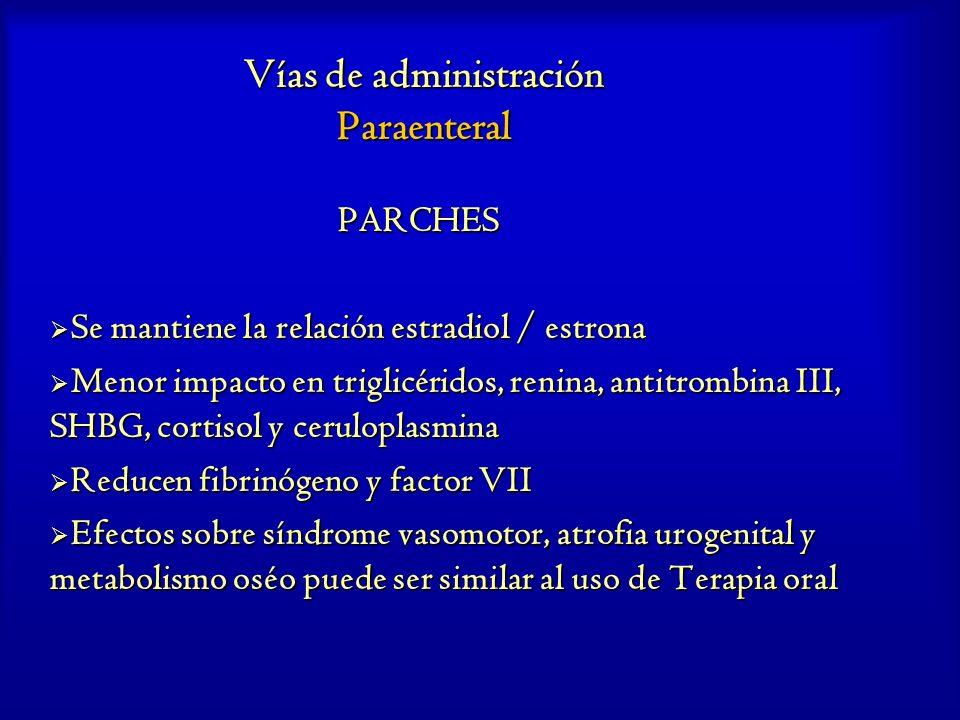 Vías de administración Paraenteral PARCHES Se mantiene la relación estradiol / estrona Se mantiene la relación estradiol / estrona Menor impacto en tr