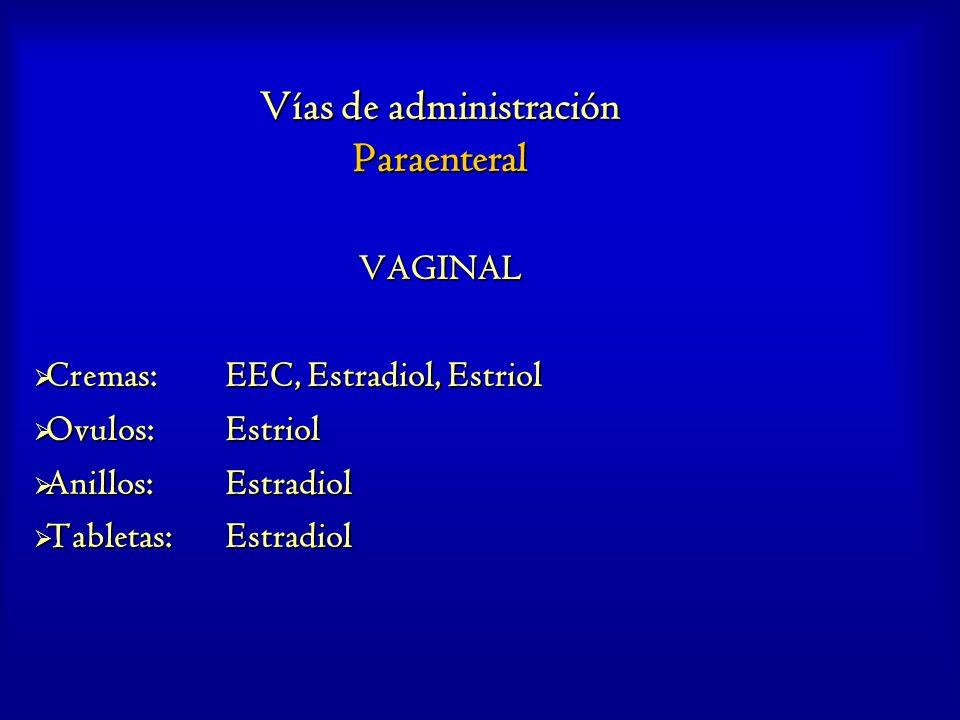 Vías de administración Paraenteral VAGINAL Cremas:EEC, Estradiol, Estriol Cremas:EEC, Estradiol, Estriol Ovulos:Estriol Ovulos:Estriol Anillos:Estradi