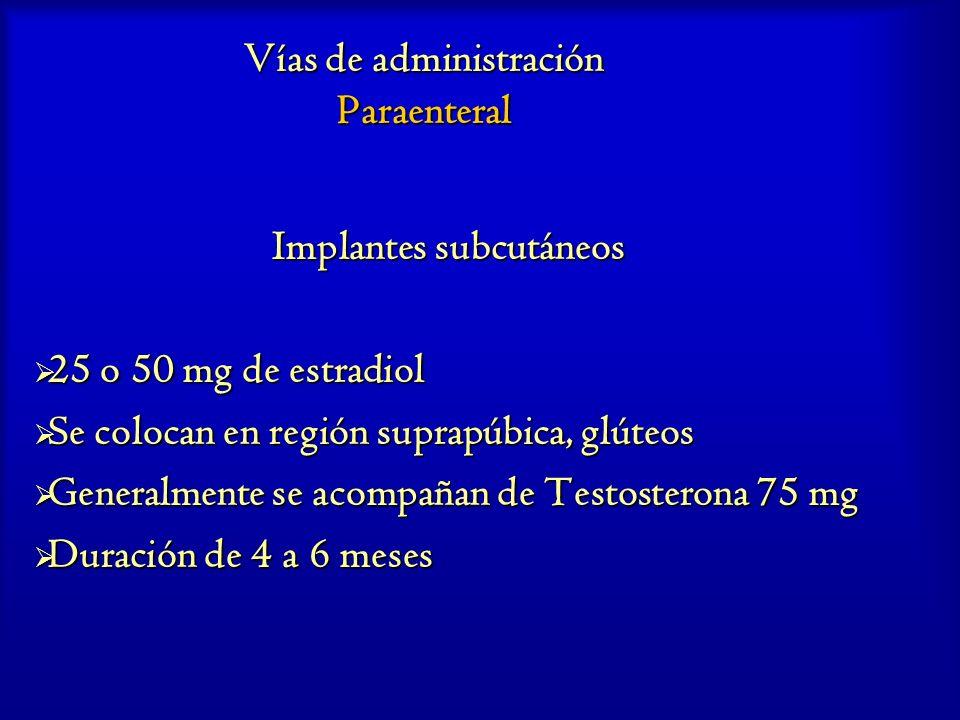 Vías de administración Paraenteral Implantes subcutáneos 25 o 50 mg de estradiol 25 o 50 mg de estradiol Se colocan en región suprapúbica, glúteos Se